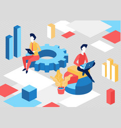 isometric business people work concept with 3d vector image