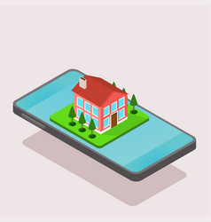 isometric house and smartphone vector image