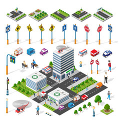 isometric set building houses icons blocks vector image