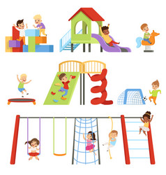 Kids playing at playground set children swinging vector