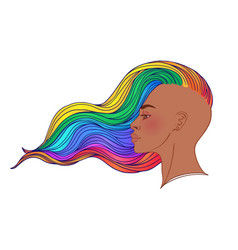 Lgbt person with rainbow hair non binary african vector
