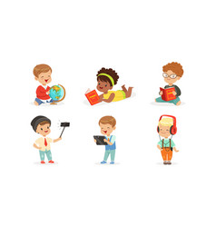 Little children with gadgets and books vector