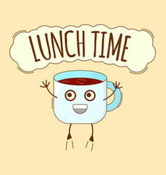 Lunch time banner tea icon cute character concept vector