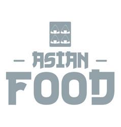Menu asian food logo simple gray style vector