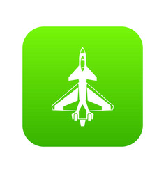 military fighter jet icon digital green vector image