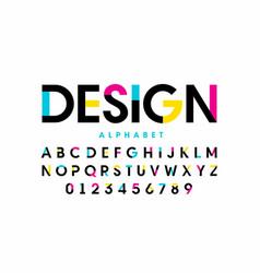 modern bright colorful font design alphabet vector image