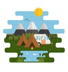 Mountain Lake Camp Ecological Landscape vector image