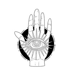 mysterious divine hand and providence eye vector image