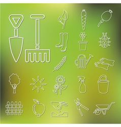 Outline garden icons vector