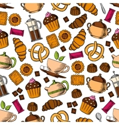 Pastries sweets with tea drinks seamless pattern vector