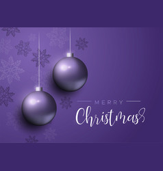 purple christmas baubles luxury greeting card vector image