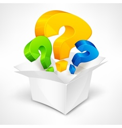 Question marks in box vector image