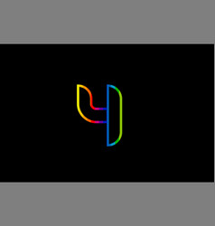 rainbow color colored colorful number 4 logo icon vector image