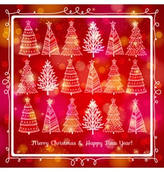 Red brightness background with forest of christmas vector