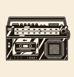 Retro cassette recorder with radio receiver vector