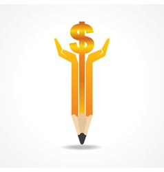 Save money concept with pencil hands vector image