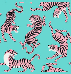 seamless pattern with cute tigers on vector image
