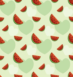 Seamless pattern with watermelon and hearts vector