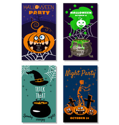 set halloween holiday greeting card merry pumpkin vector image