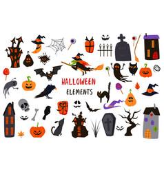 Set isolated halloween elements vector