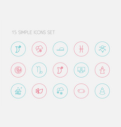 Set of 15 editable air outline icons includes vector