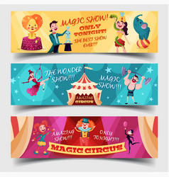 Set of isolated circus cards with clown magician vector