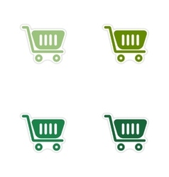 Set of paper stickers on white background cart vector image