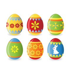 set of six easter eggs vector image