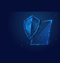 Shield and tablet low-poly blue vector