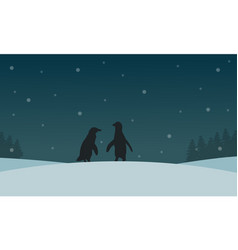 Silhouette of penguin with snow scenery vector