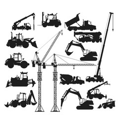 Silhouettes construction vehicles vector