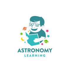 Simple education logo kid learning astronomy book vector