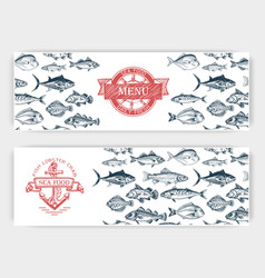 sketch - fish market card vector image