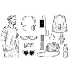 sketch hipster man and men s accessories set vector image