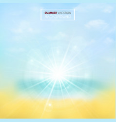 soft summer background with blur len of sunburst vector image