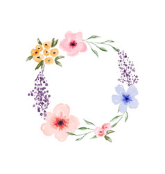 spring watercolor flower circle wreath frame vector image
