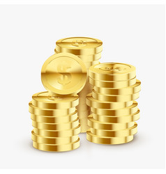 stack gold coins set bright shiny heap vector image