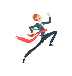 successful businessman running to finish line vector image