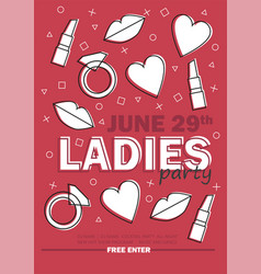 Template for ladies night party with line sign vector