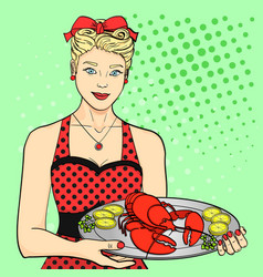 the hostess the cook the waiter in red serves vector image