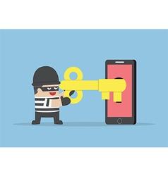 thief or hacker hacking smartphone key vector image
