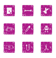 tv program icons set grunge style vector image