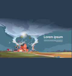 twisting tornado destroying farm hurricane vector image