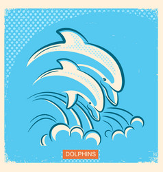 two dolphins retro of parent and vector image