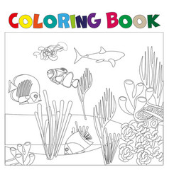 underwater world coloring page for kids vector image