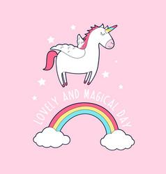 unicorn print design with slogan vector image