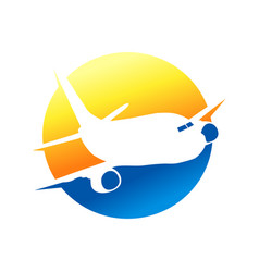 unique circular flying airplane silhouette dsign vector image