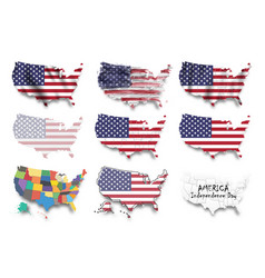 United states america map and flags set vector