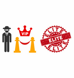 Vip access icon with distress elite stamp vector