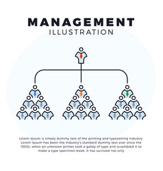 web line icon management group people or boss vector image